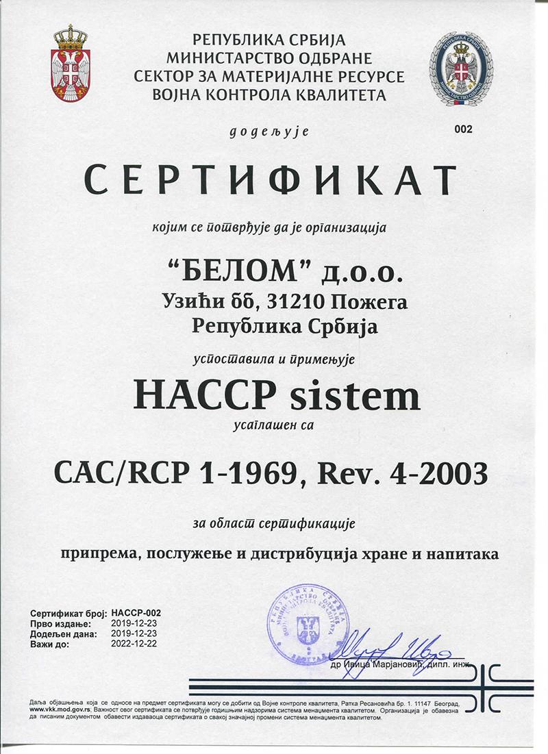 HACCP sistem CACRCP 1-1969, Rev. 4-2003