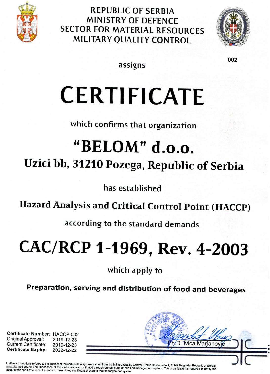 Belom HACCP